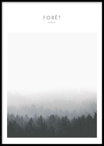 Foret, poster. Tavla med naturmotiv. Fin poster med fotografi på skog. Matcha med våra andra naturmotiv med fotokonst i samma serie. Postern är svartvit och passar som inredning i vardagsrummet lika väl som i sovrummet. Våra posters är tryckta på ett matt papper.