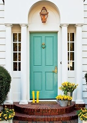 how to add instant curb appeal stunning front door ideas, exterior finishings, windows doors, Is there a more perfect color than turquoise What a happy way to come home