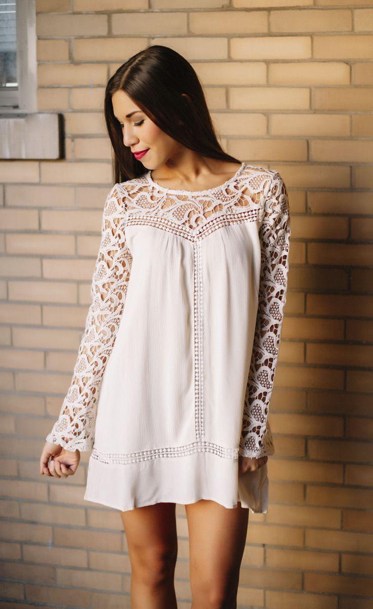 Cream Crochet Sleeve Boho Dress - Dottie Couture Boutique