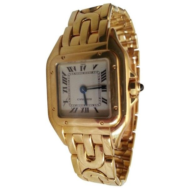 Pre-owned Cartier Gold Gold Watch Panthère ($5,531) ❤ liked on Polyvore featuring jewelry, watches, gold, gold jewellery, pre owned watches, yellow gold watches, yellow gold jewelry and dial watches
