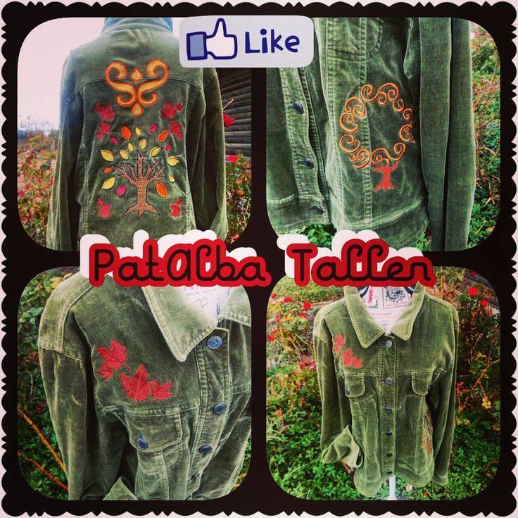 Lista chaqueta con bordados de otoño❤😍 #patalbataller #diseñodeautor #artesana #emprendedora #bordados #vestuario #customizar #costuras #confeccionapedido