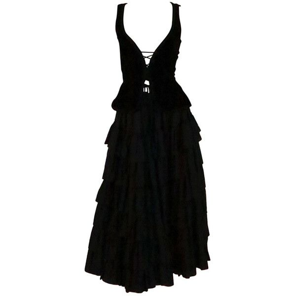Pre-owned 1970s Yves St Laurent 1970s peasant collection black bustier... ($1,200) ❤ liked on Polyvore