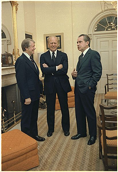Jimmy Carter, Gerald Ford and Richard Nixon gather at the White House during funeral for Hubert Humphrey., 01/15/1978