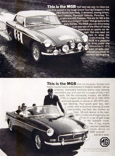 1964 MGB Convertible original vintage advertisement. Features the winning rally car of the 1964 Monte Carlo Rally as well as the convertible model you can purchase.