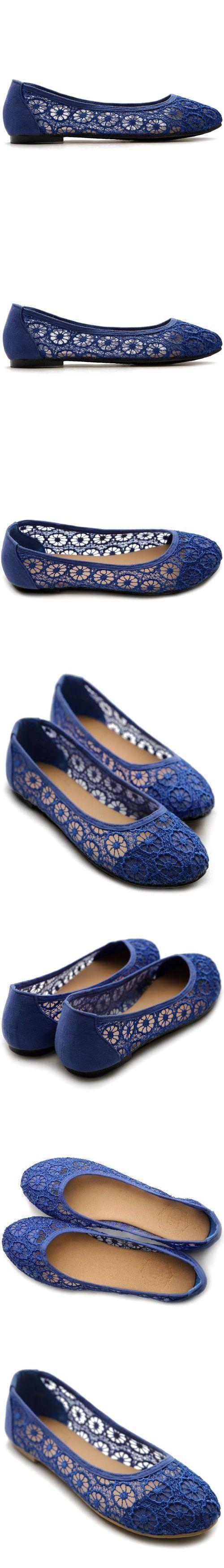 Ollio Women's Ballet Shoe Floral Lace Breathable Flat(8 B(M) US, Royal Blue)