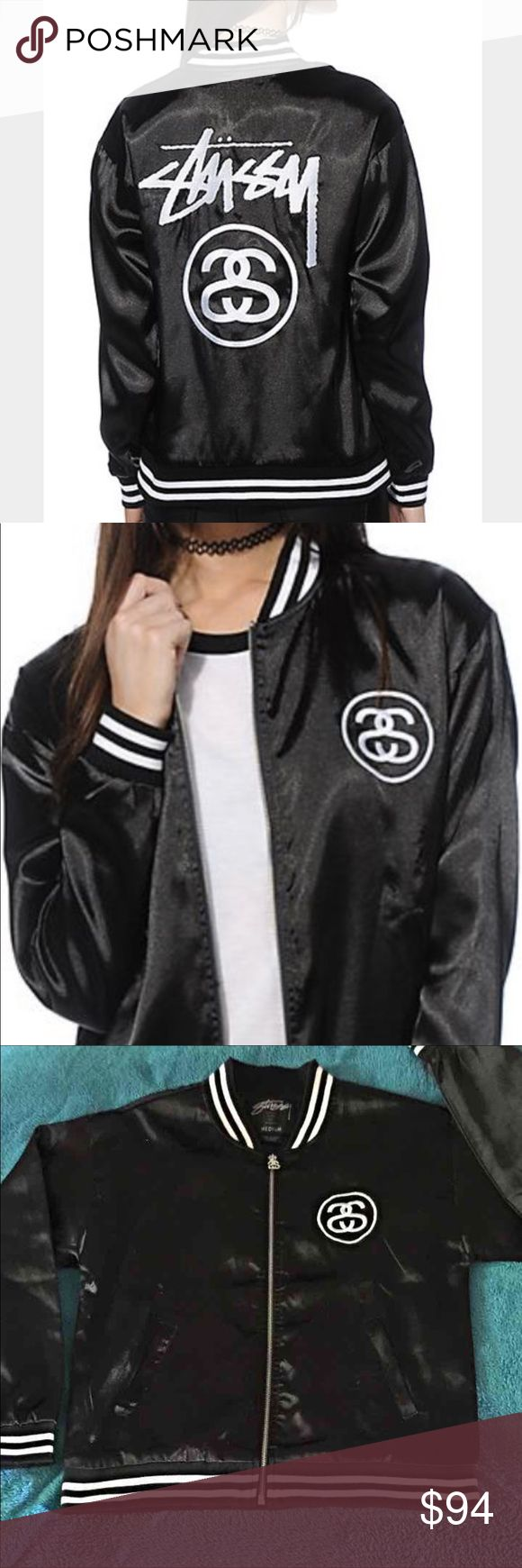 %100 Authentic Black STUSSY Bomber Jacket! FIRM Like New Condition worn 2Xs! Mild piling on sleeves have been removed. Black satin and white baseball trim! Lite weight for summer nights! Size M women's 8-10/ Men's 28-32. This style has sold out and hard to find! Letting all valuable things go to help with financial crisis! Thank you for your purchases! Nothing is taken for granted in my home! Without my buyers, we don't eat, without my buyers, bills get shut off! Thank you while Iam in the…