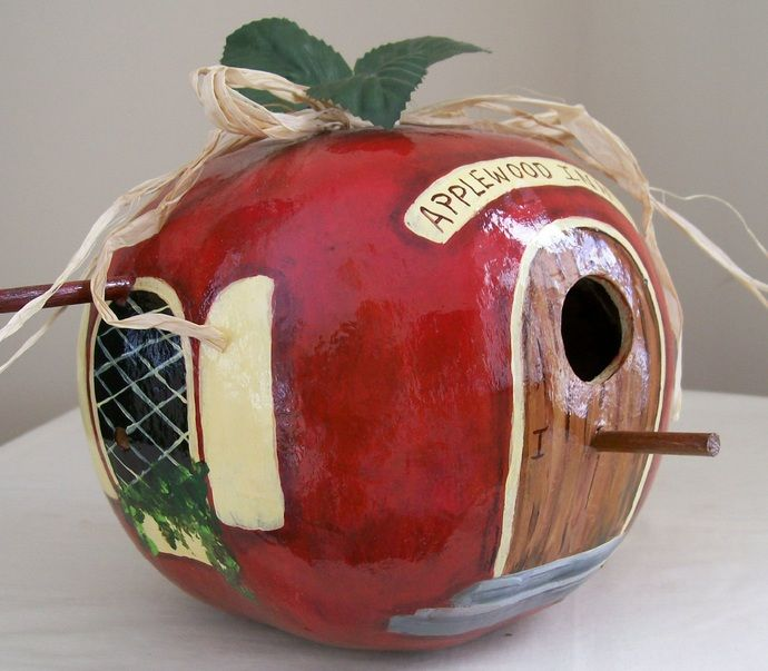 Apple Hand Painted Bird House Gourd by HouseOfGourds, $30.00 USD