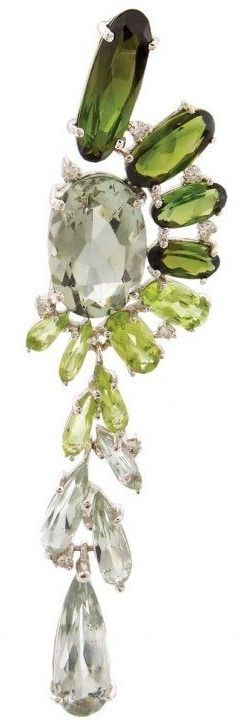♔ Tourmaline, peridot and diamond earrings by Vianna