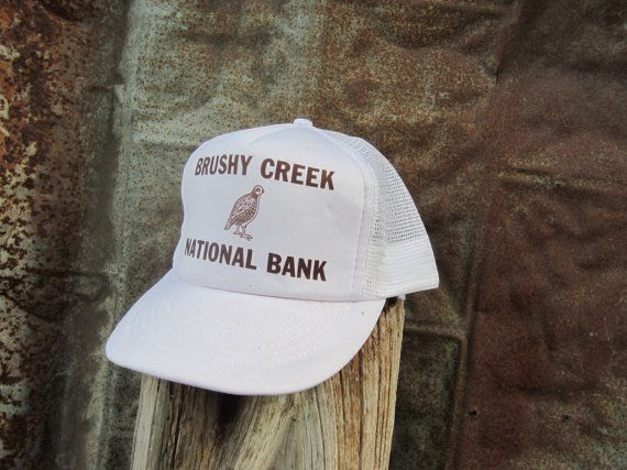 80s/90s White Snapback Hat for Brushy Creek National Bank Texas