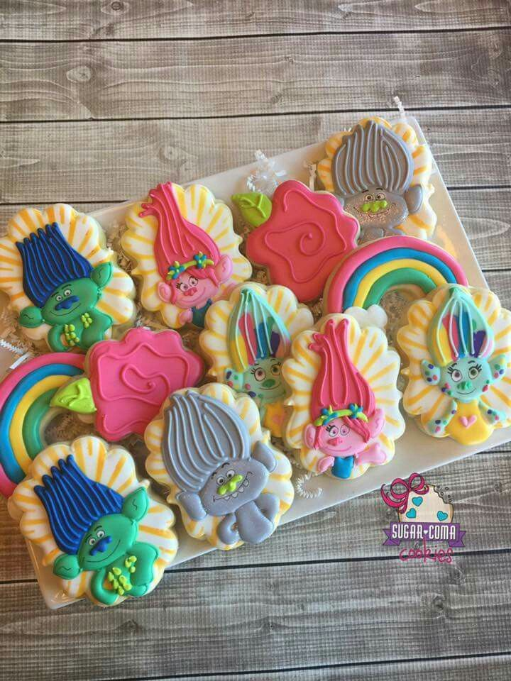 Pin by wood on character theme birthday cookies trolls