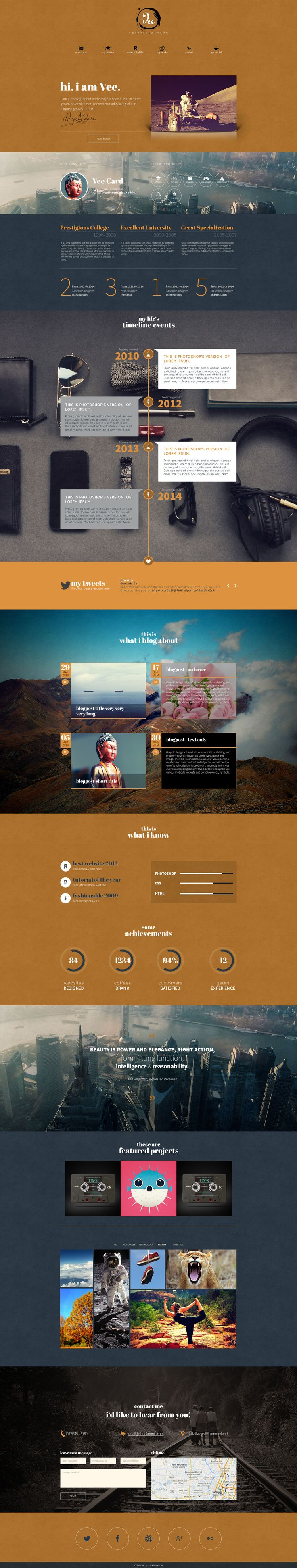 VeeCard – Clean Retro vCard WordPress Theme #design