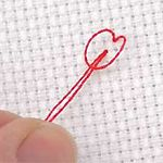 Loop knot  -  This is a really great way to start stitching without having to tie a knot!