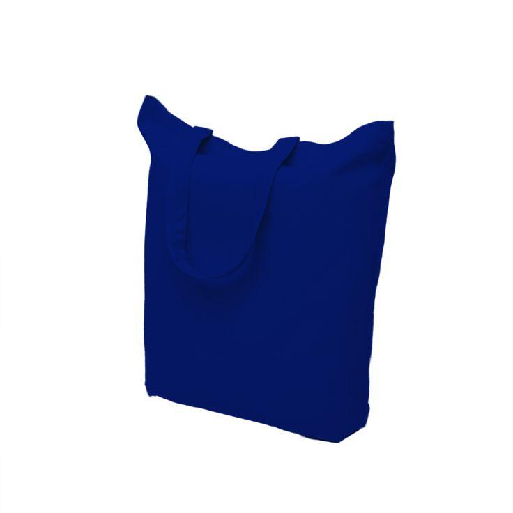 Blue cotton bag with short handle