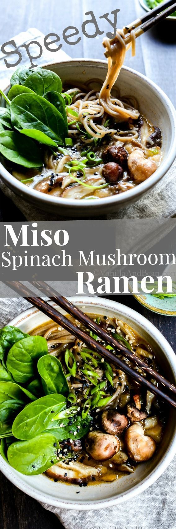 A fast and hearty weeknight dinner. Speedy Miso Spinach Mushroom Ramen is packed with ginger, garlic, shiitake and oodles of soba noodles! Vegan + Optionally GF (garlic mushrooms vegan)