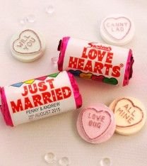 Personalised Mini Love Hearts Wedding Favours (50 rolls)