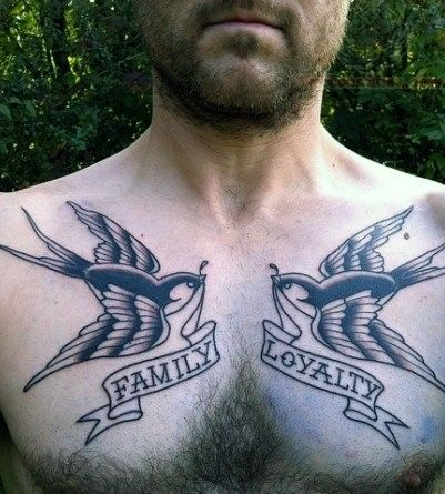 Sparrows With Banners Of Family And Loyalty Male Chest Tattoos