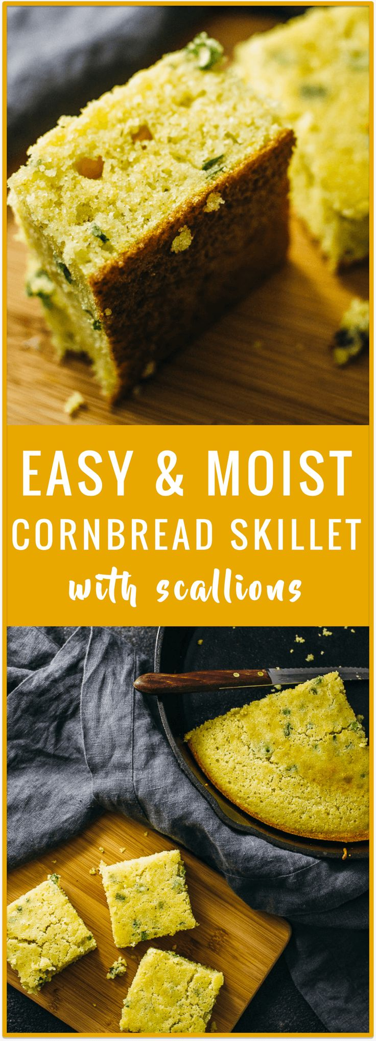 Skip the Jiffy cornbread mixes and try this Southern-inspired cornbread skillet with scallions. It's an easy recipe for homemade cornbread that's healthy and not too sweet. No buttermilk needed.