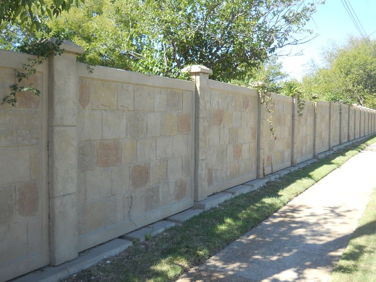 RhinoRock.  HOA or PID fencing at it's best.  Homeowners will also love the sound barrier, longevity and appearance of the Precast Concrete Fence.  Call Future Outdoors for a free estimate. 972-576-1600 North Texas, Dallas, Arlington, Waxahachie, Ennis, Ft. Worth