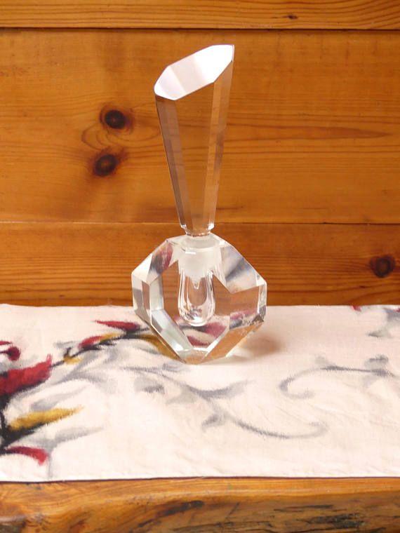 Vintage  Mid Century Crystal Cut Clear Perfume Bottle