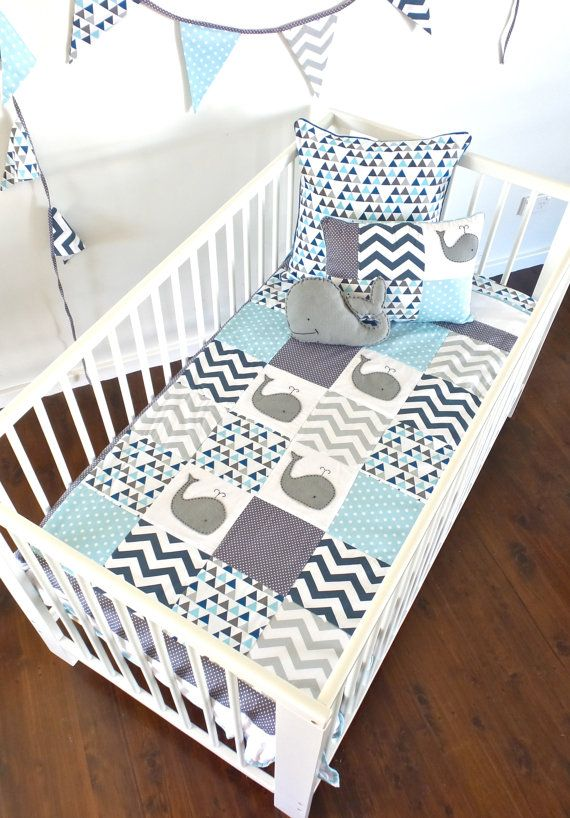 Moby Whale Baby Boy Crib Quilt by AlphabetMonkey on Etsy