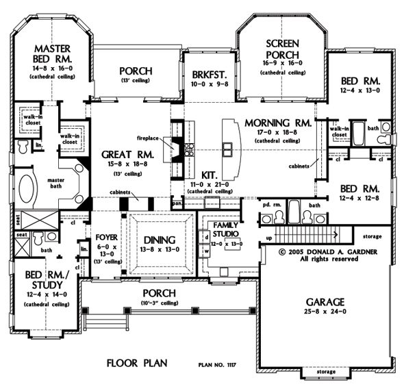 First floor plan of the clarkson house plan number 1117 for One level home plans with bonus room