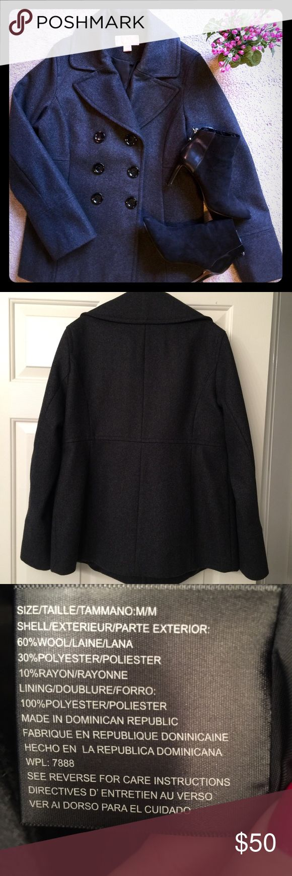Michael Kors Women's Peacoat Charcoal Gray double breasted wool coat. Will keep you warm and stylish all winter long! Great for everyday wear or a night out!  Gently used and in excellent condition. MICHAEL Michael Kors Jackets & Coats Pea Coats