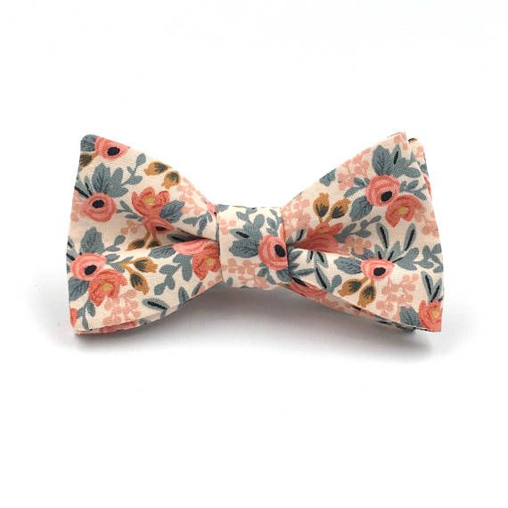 Peach Bow Tie Men's Peach and Coral Floral Bowtie Peach