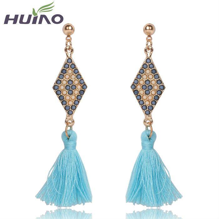 2015 Trendy Long Tassel Earrings For Women Bride Girl Lady Gold Luxury Drop Earring Korean Version Party Fine Jewelry Wholesale