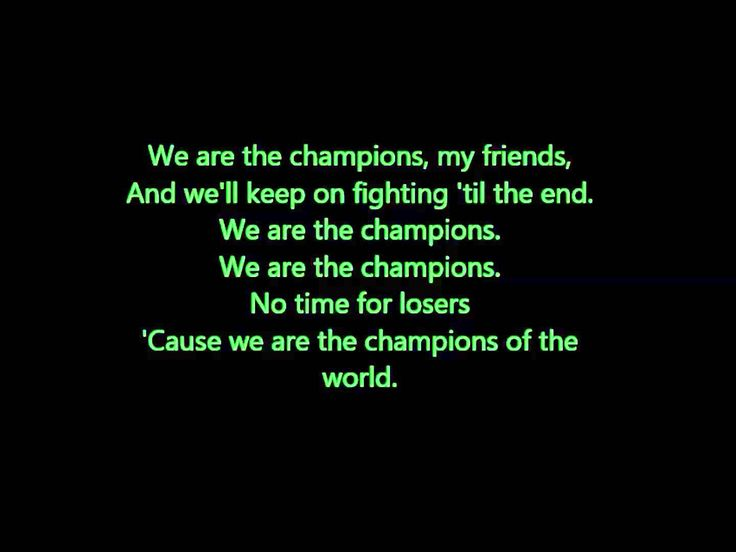 My favorite Queen song is this mix.  What a voice, lyrics and these instrumentals ; sick!!!! Queen - We Will Rock You and We Are The Champions Lyrics