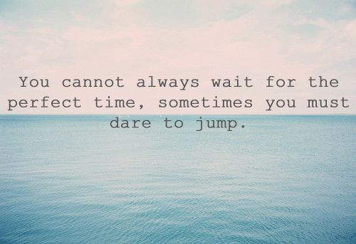 You cannot always wait for the perfect time, sometimes you must dare to jump. thedailyquotes.com