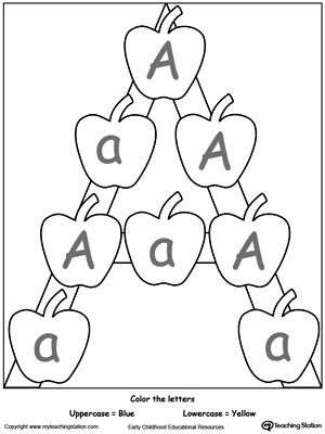 Teach your preschooler to recognize uppercase and lowercase letters. Learn the alphabet in a fun way by practice identifying the uppercase and lowercase letter A with this printable activity worksheet.