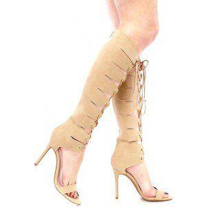 c916bc03b Women s Apricot Lace-up Stiletto Heel Knee-high Gladiator Heels ...