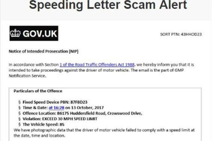 South Yorkshire motorists warned of speeding scam email
