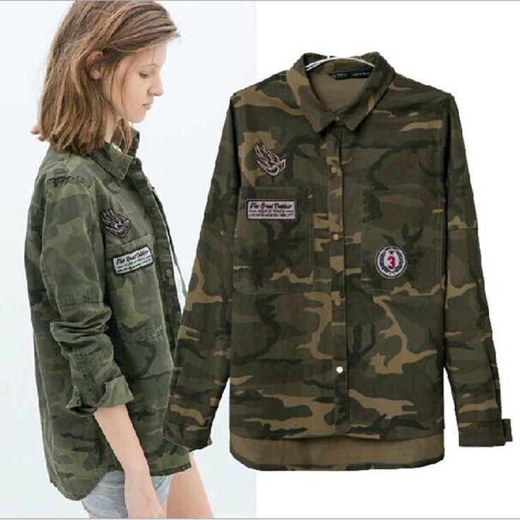 1PC Denim Jacket Women Military Camouflage Blouse Coat Casual Fashion Jaqueta Feminina Chaquetas Mujer ZZ3494