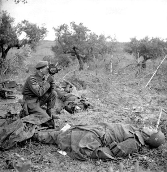 """Canadian Army Sgt. George A. Game of the Canadian Film & Photo Unit operates his camera, filming action while kneeling between the corpses of two dead German soldiers during the Battle of Ortona of the Italian Campaign. Ortona was the site of fierce fighting between the German 1st Parachute Division (1. Fallschirmjägerdivision) & the 1st Canadian Infantry Division. The ferocity of the battle led it to be known as the """"Little Stalingrad."""" Near San Leonardo di Ortona, Province of Chieti."""