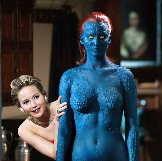 Alter-ego Mystique in X-Men: Days of Future Past. | 11 Pictures Of Jennifer Lawrence Peeking Out From Behind Things