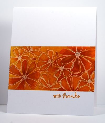 one-layer card with a beautiful example of ink resist using sponges and markers...