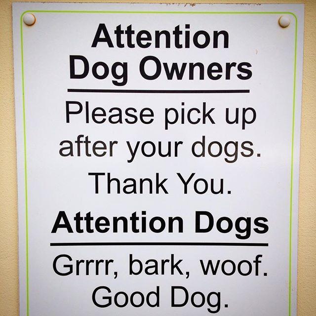 Será que na Inglaterra os cães também entendem o humor britânico? Na placa tem recado pros donos (em inglês) e pros cães (em latim... digo, latidos)  Do British dogs understand British humour?