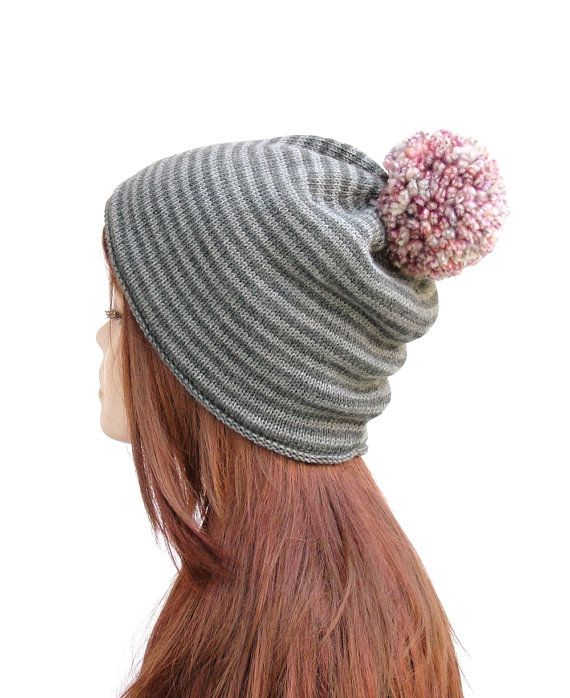 Soft merino wool pom pom hat, women's winter beanie by Rukkola on Etsy. #womenspompomhat #womenswoolhat #pompombeanie