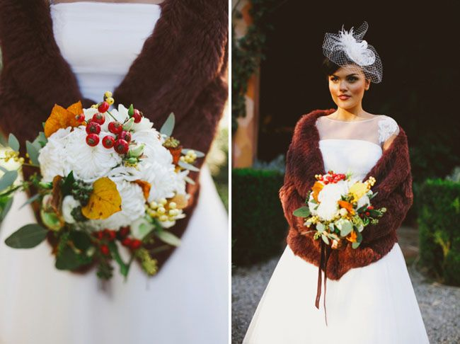 The bouquet contains Turner white chrysanthemums (a flower variety similar to the dahlia), buttercups and white lisianthus, wild red berries and clear yellow winterberry, beech leaves and ivy.