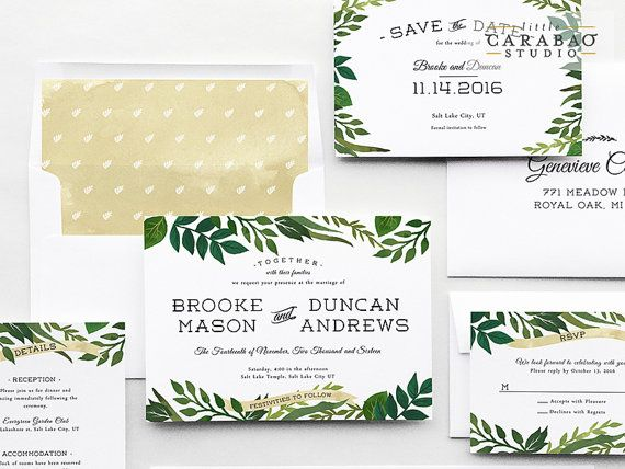 Wedding Invitation PRINTED Sample Wedding Invitation Suite Botanical  Wedding Invitation Set   Little Carabao Studio   #EF103
