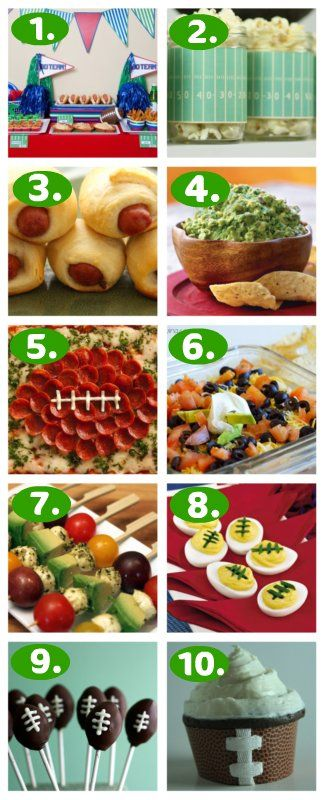 TEN Great Superbowl Party Foods and Ideas!  Details at www.itsoverflowing.com.
