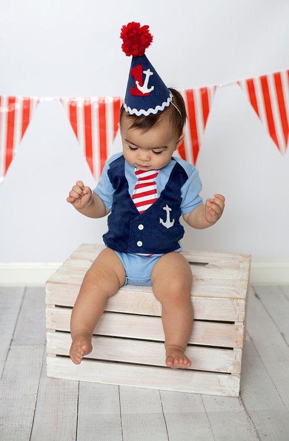 Boys Blue Nautical Sailor Themed Tie Vest