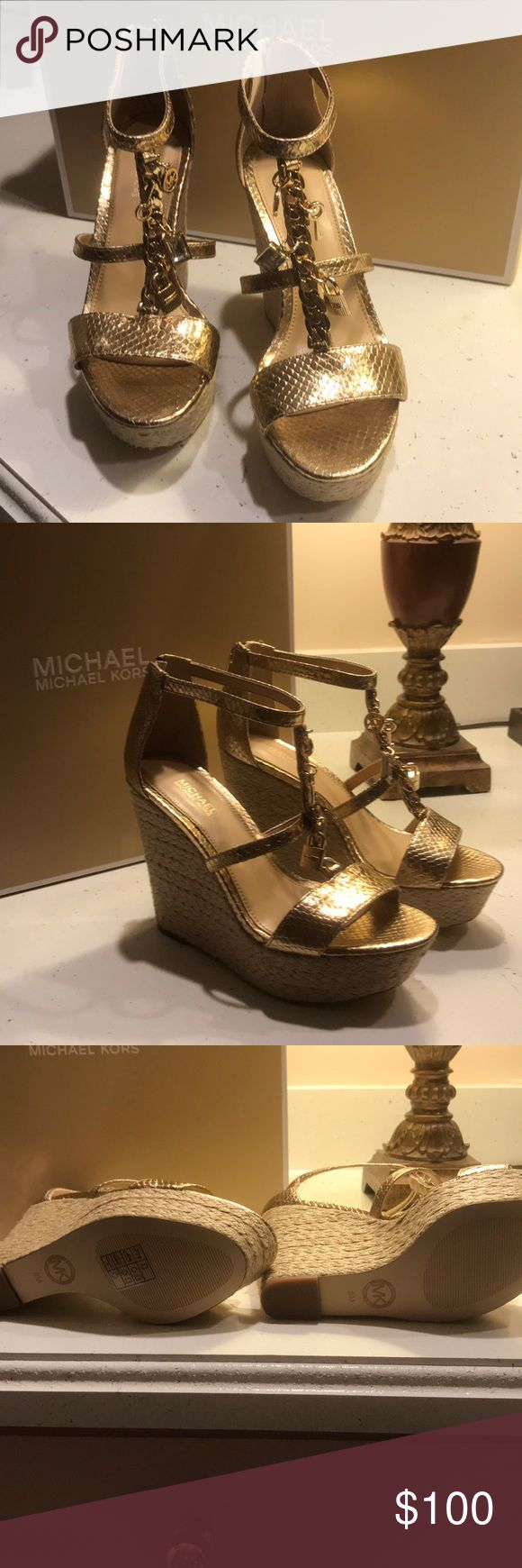 Michael Kors wedge sandals metallic gold Brand new with box Michel Kors sandals with charms Shoes Wedges