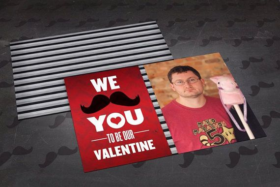 Custom Valentine's Day Card Template  Mustache by DildineDesigns, $10.00