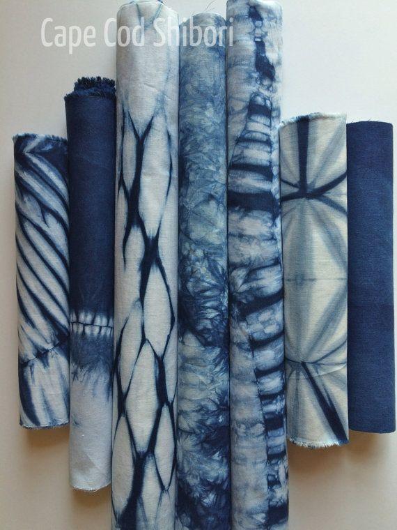 Indigo Dyed Shibori Fabric Pack by CapeCodShibori on Etsy