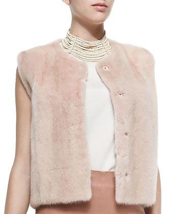 Brunello Cucinelli Snap-Front Mink Fur Vest, Layered Silk Crepe Tank, Leather Pencil Skirt & Riverstone Multi-Strand Necklace