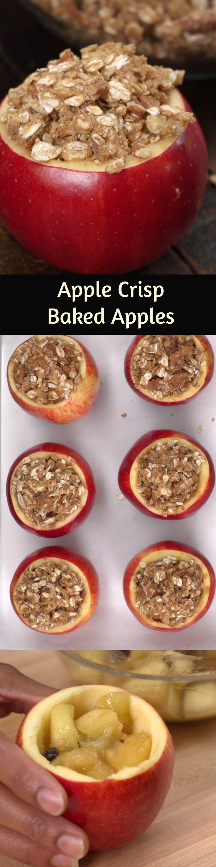 Apple Crisp Baked Apples. Easy to make. Contains Oats, Cinnamon, Pecans, and Maple Syrup. Wonderful Fall Apple Recipe.
