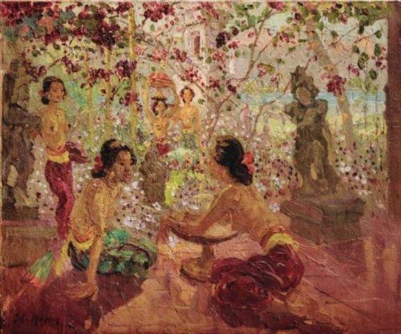 Adrien Jean Le Mayeur De Merprés - Women in the garden preparing offerings sold by Sotheby's for USD 707,200.