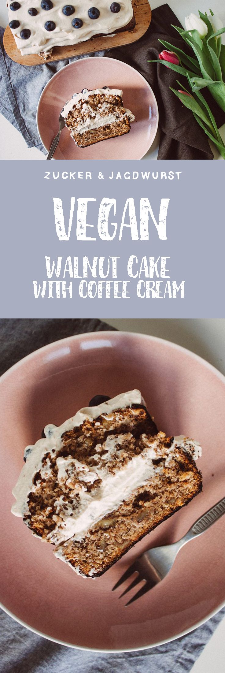 Vegan Walnut Cake with Coffee Cream